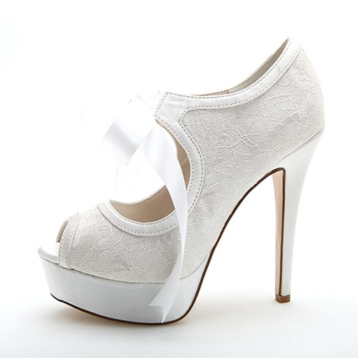 Lace Bowtie Peep-Toe Platform High Heel Wedding Shoes