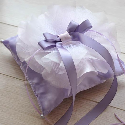 Purple Wedding Ring Pillow With Bowknot