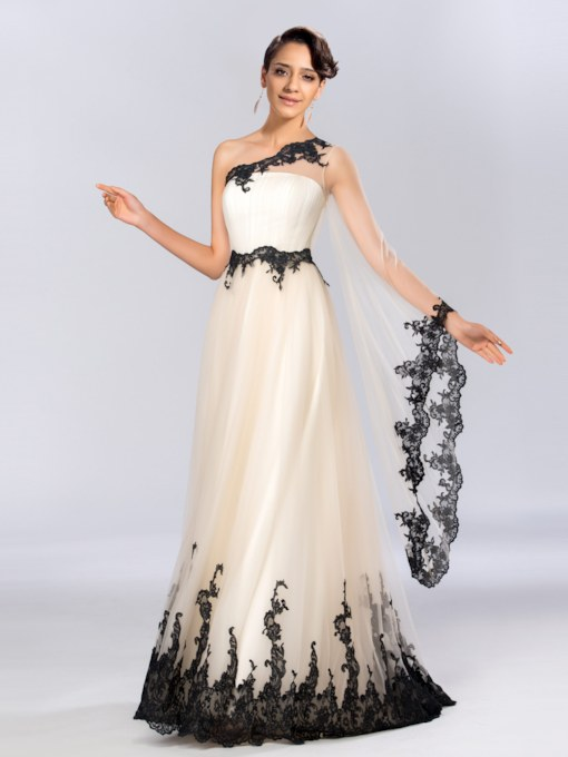 One Shoulder Appliques Long Sleeves Evening Dress