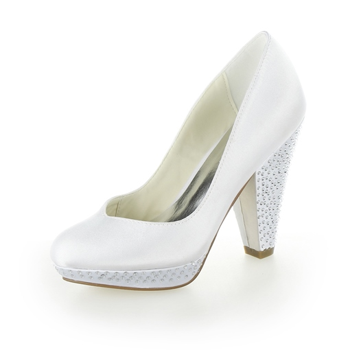 Beaded Chunky Heel White Bridal Shoes