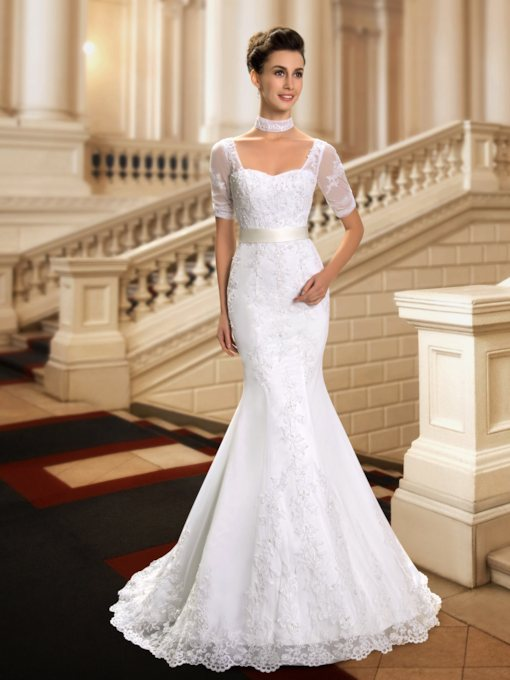 Appliques Mermaid Wedding Dress with Sleeves
