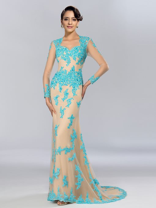 Sheath Long Sleeves Appliques Beadings Evening Dress