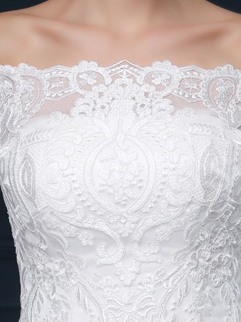 Off-The-Shoulder Half Sleeves Lace-Up Chapel Train Wedding Dress