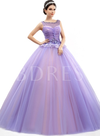 A-Line Scoop Neck Pearls Beadings Quinceanera Dress