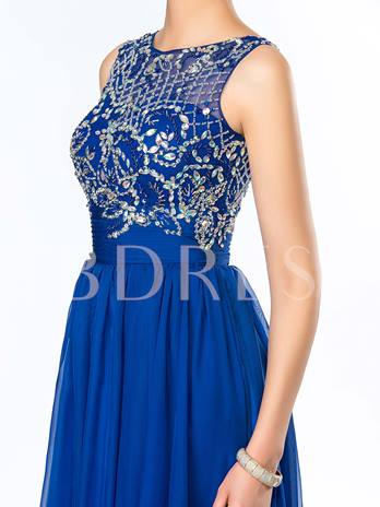 Beadings Sequins Chiffon Floor-Length Prom Dress