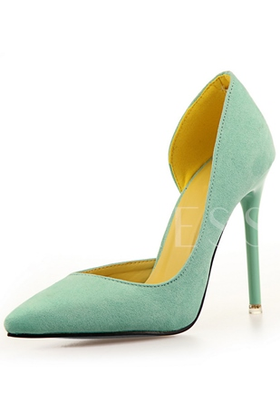 Solid Color Point Toe Asymmetric Hem Stiletto Heel Pumps
