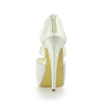 Satin Lace High Heel Wedding Shoes