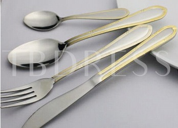 Stainless Steel Gilt-edged Four Pieces Serving Sets