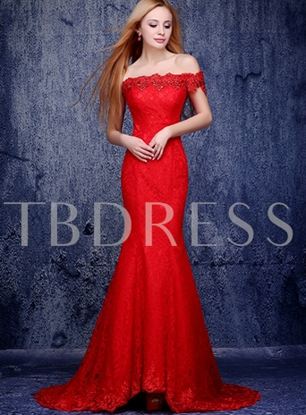Mermaid Off-the-Shoulder Lace Appliques Beadings Evening Dress