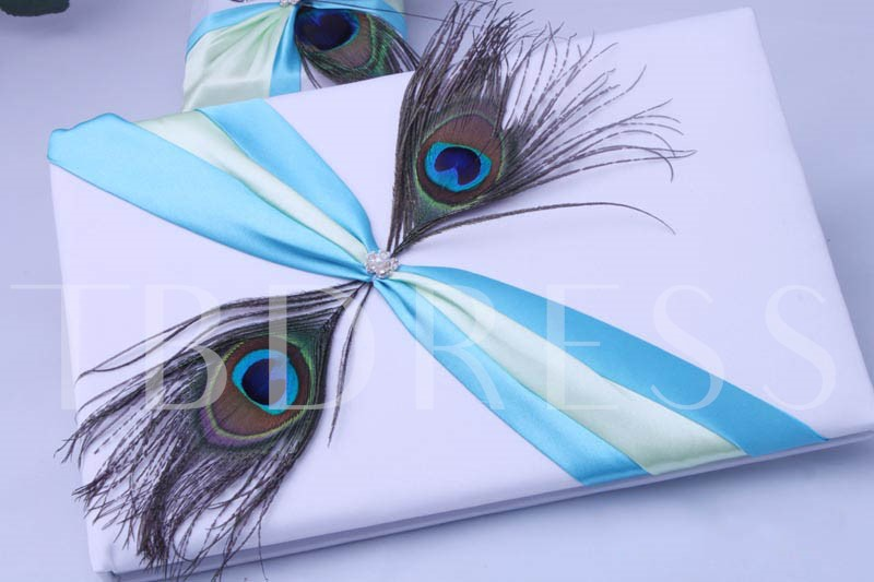 Wedding Guest Book And Pen Set With Twin Peacock Feather
