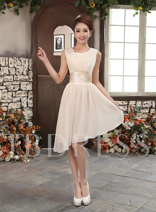 A-Line Scoop Pleats Empire Short Bridesmaid Dress