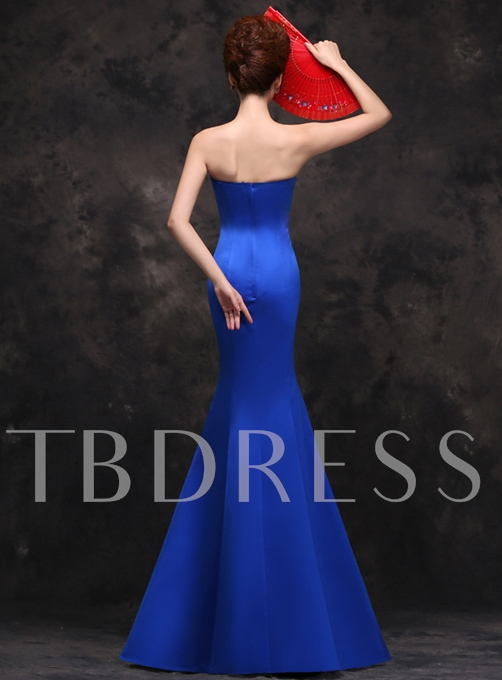 Strapless Mermaid Embroidery Evening Dress