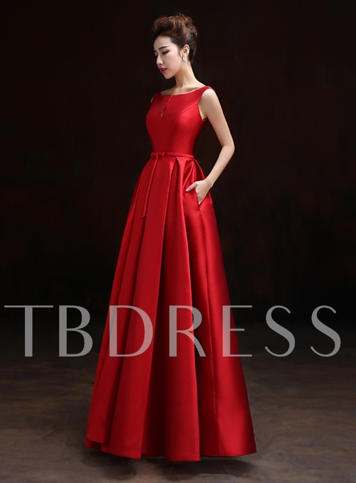A-Line Bateau Neck Pure Color Floor-Length Evening Dress
