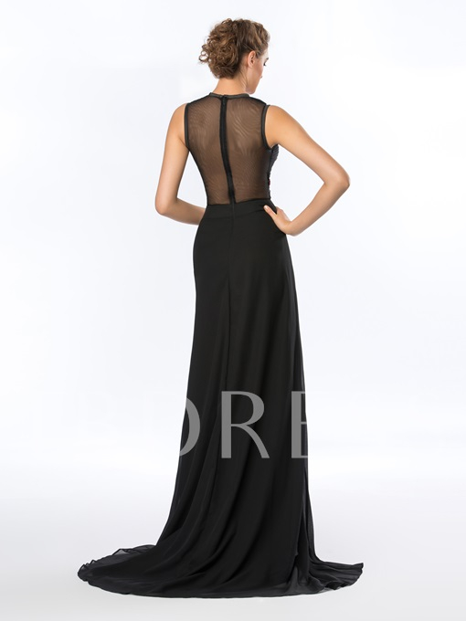 Jewel Beadings A-Line Tulle Back Sweep Train Asymmetrical Evening Dress