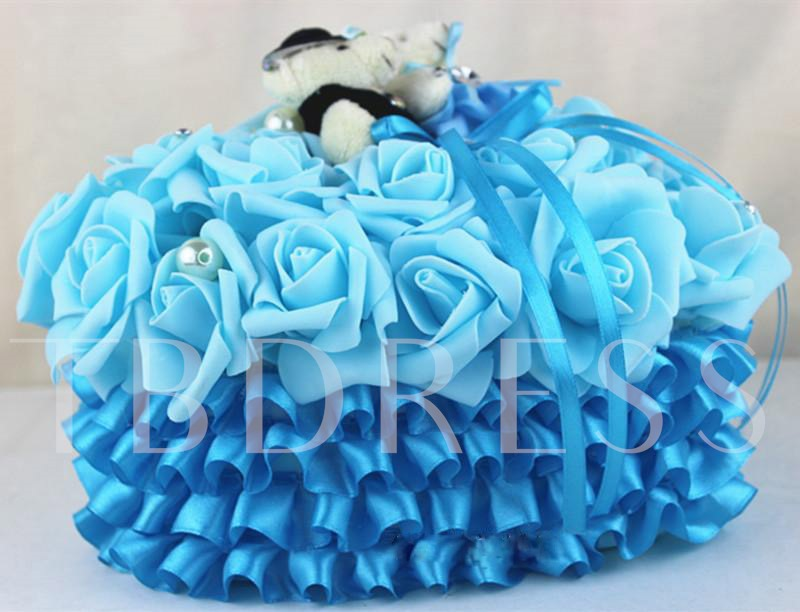 Blue Rose Ring Pillow With Bear