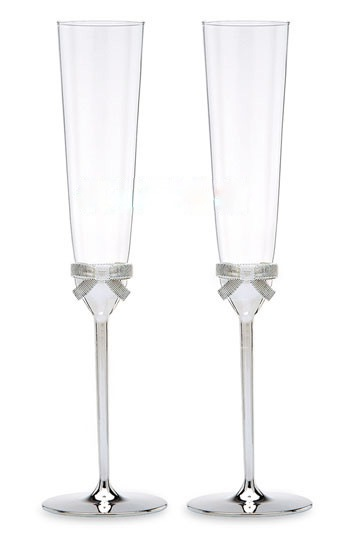 Creative Silver-Plated Bowknot Toasting Flutes(Set of 2)