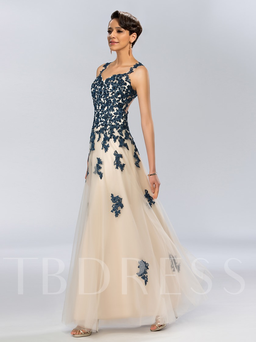 Back Straps Beading Appliques Long Evening Dress