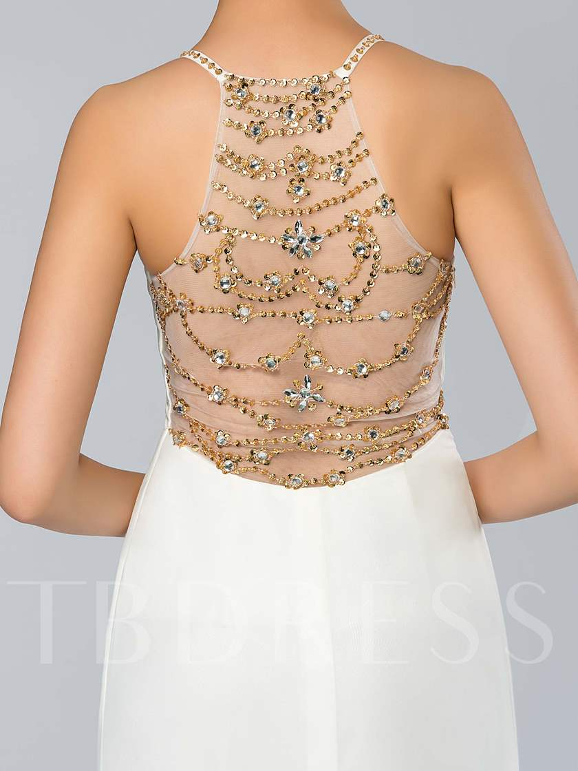 Spaghetti Straps Sheer Back A Line Long Prom Dress