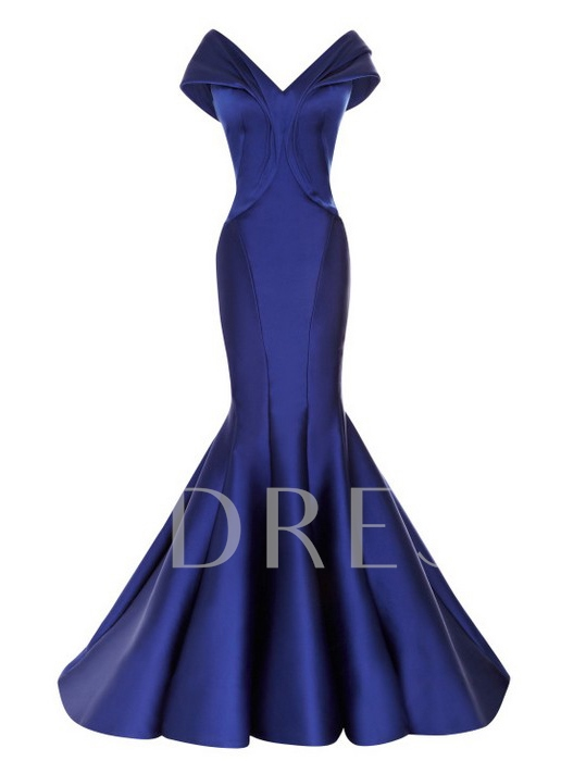 Off-the-Shoulder V-Neck Mermaid Zipper-up Evening Dress