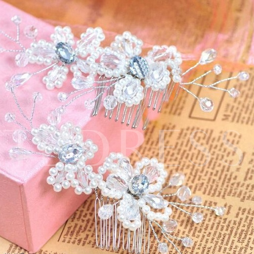 Flower with Pearl Bridal Hair Comb