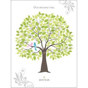 Wedding Tree with Love Birds Thumbprint Guest Signature Frames