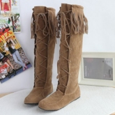 Solid Color Tassel Knee Women's High Boots