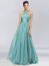 A-Line Halter Ruched Long Prom Dress