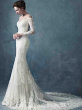 Beading Mermaid Lace Wedding Dress with Long Sleeve