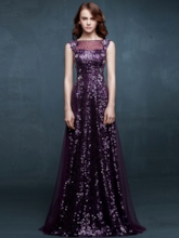 A-Line Off-the-Shoulder Sequins Rhinestone Evening Dress