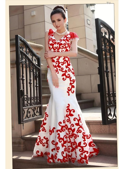 Mermaid Short Sleeves V-Neck Flowers Evening Dress