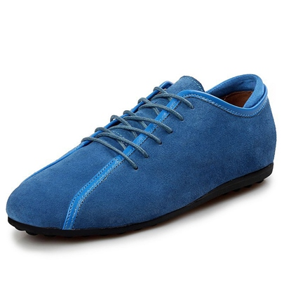 Solid Color Lace-Up Patchwork Men's Flats
