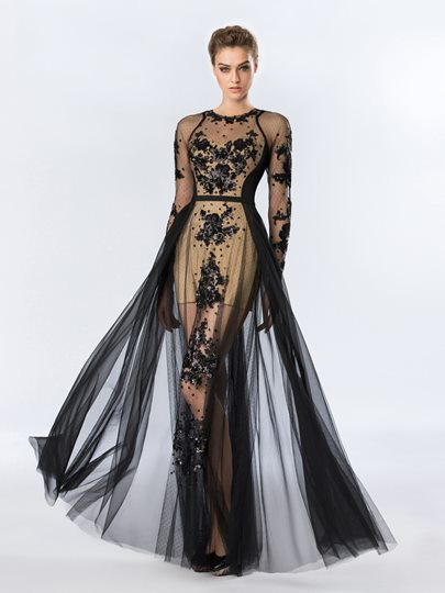 Scoop Neck Appliques Long Sleeves Floor-Length Evening Dress