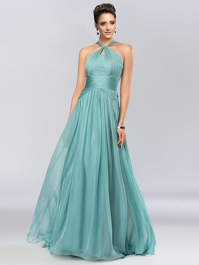 A-Line Halter Floor Length Prom Dress
