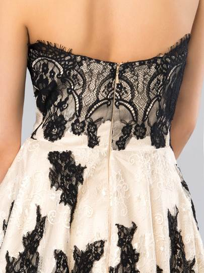 Sweetheart Lace Zipper-up Cocktail Dress