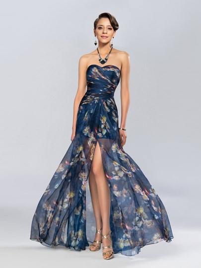 A-Line Split-Front Ruched Evening Dress