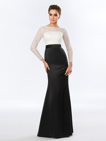 Long Sleeves Bateau Mermaid Lace Floor-Length Evening Dress