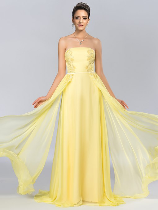 A-Line Strapless Appliques Chiffon Floor-Length Evening Dress