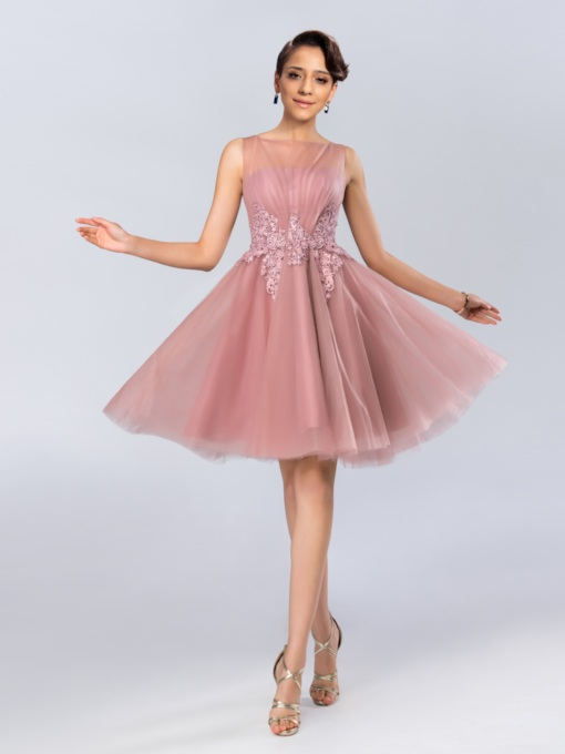 Sheer Bateau Knee Length Prom Dress