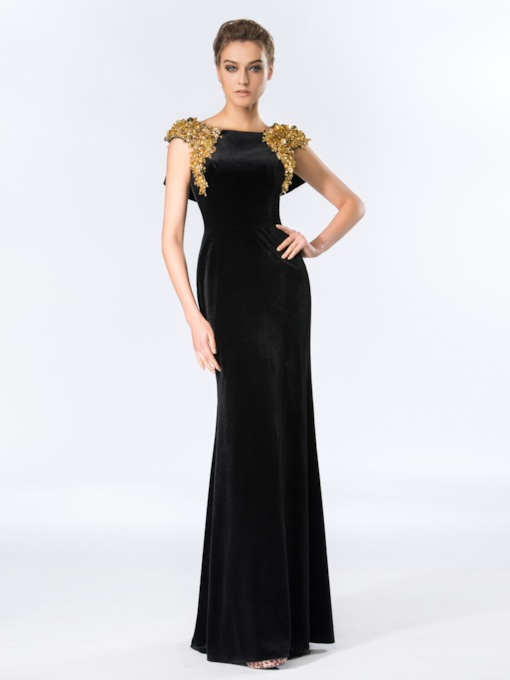 Bateau Velvet Mermaid Beadings Floor-Length Evening Dress