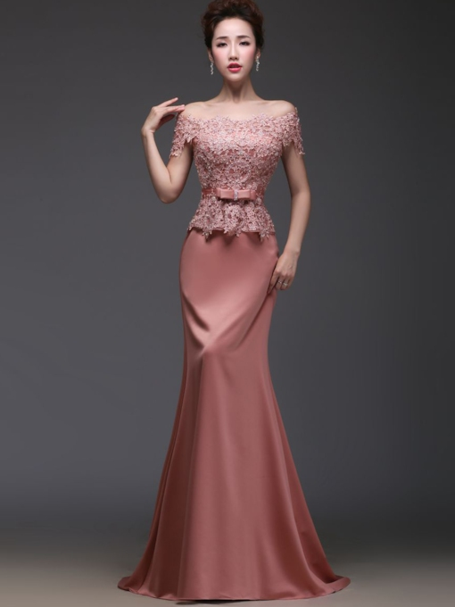 Short Sleeves Lace Mermaid Evening Dress