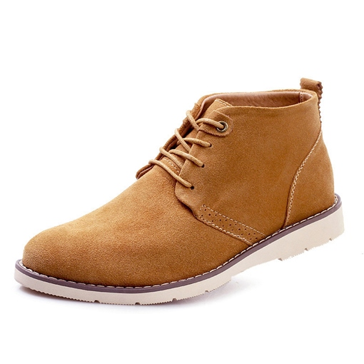 PU Lace Up Flat Fashion Ankle Boots for Men