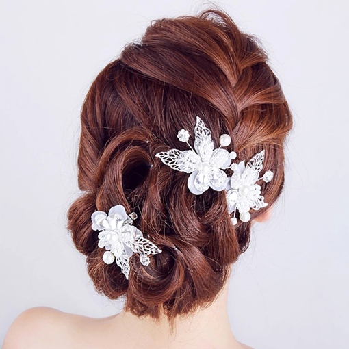 Pearl Flower with Leaves Fashion Hair Clip