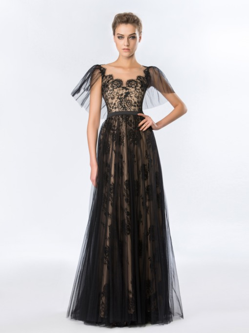 A-Line Tulle Neckline Sleeves Lace Evening Dress