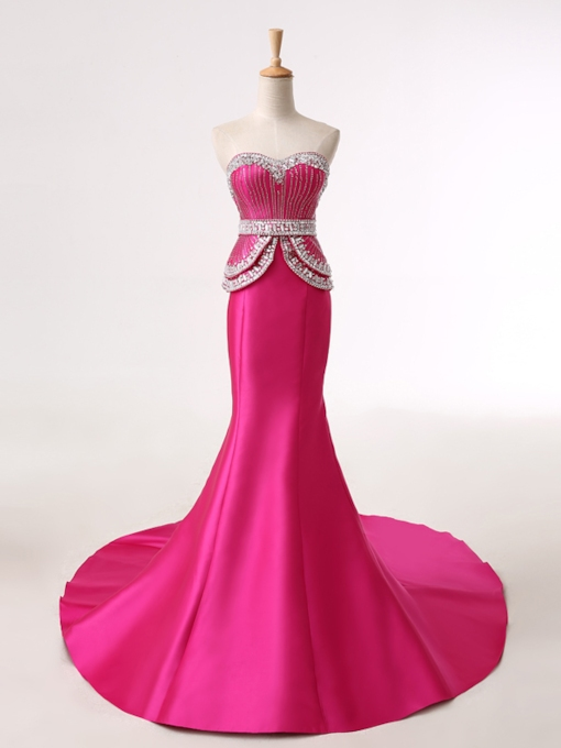 Mermaid Rhinestone Sweetheart Beadings Evening Dress
