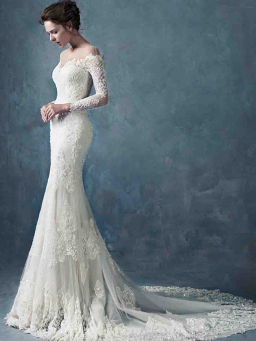 Sheer Neck Beading Long Sleeve Lace Wedding Dress
