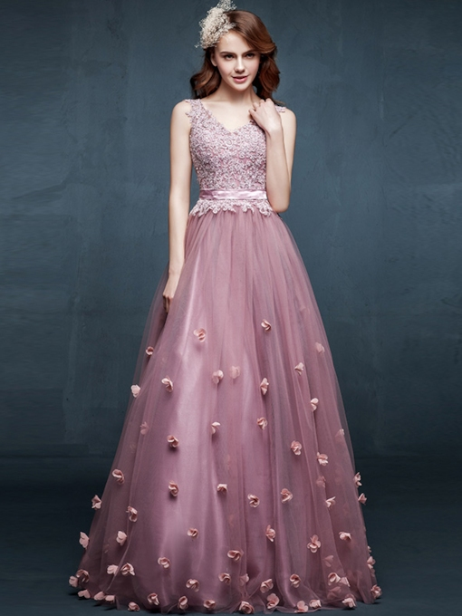 Tbdress A-Line V-Neck Appliques Flowers Floor-Length Evening Dress