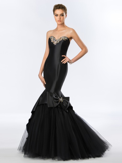 Strapless Sweetheart Neckline Rhinestone Bowknot Evening Dress
