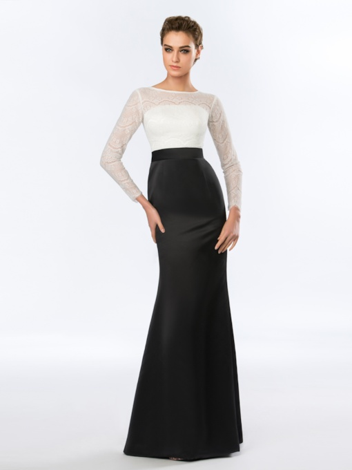 Bateau Neck Sheath Lace Long Sleeves Evening Dress