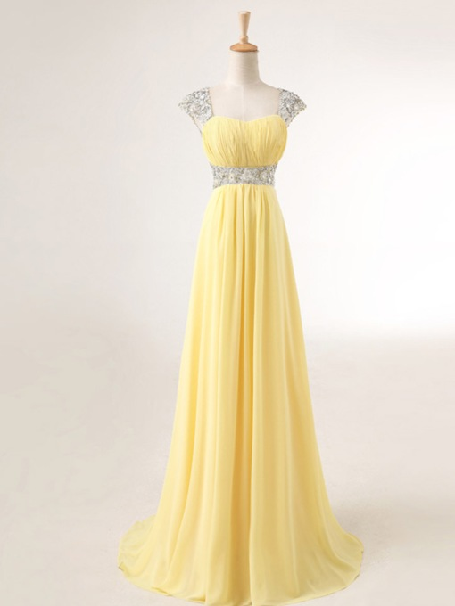 A-Line Straps Pleats Beaded Prom Dress