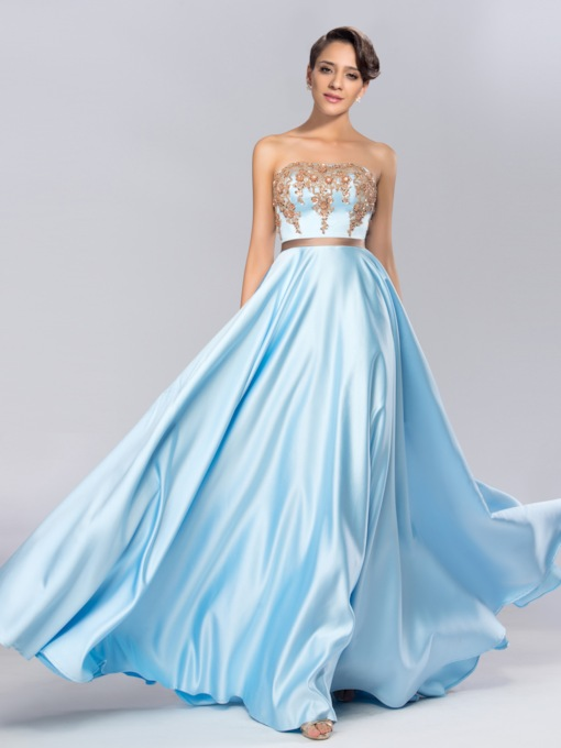Strapless Beadings Blue Long Prom Dress